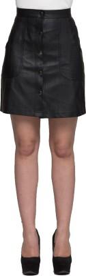 TRYFA Solid Women's Regular Black Skirt