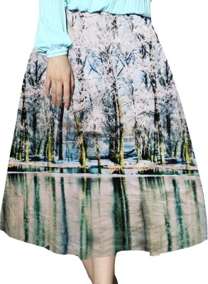 Jassu Fashion Hub Printed Women,s Regular Light Blue, White Skirt