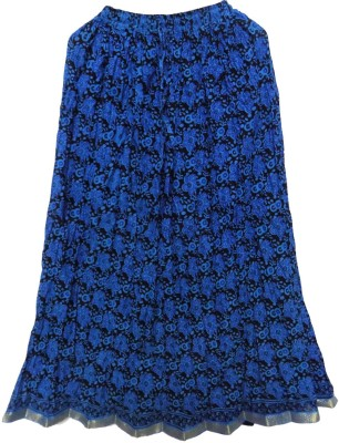 Jaipur Craft Shop Printed Women's Straight Blue Skirt