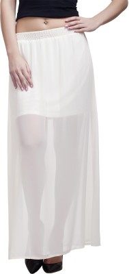MansiCollections Solid Women's Straight White Skirt