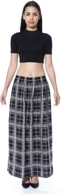 GraceDiva Checkered Women's Pencil Black, Grey Skirt