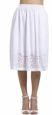 SbuyS Solid Women's Regular White Skirt
