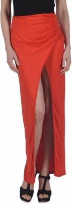 N-Gal Solid Women's Tulip Red Skirt