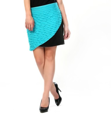 Glam & Luxe Solid Women's A-line Blue, Black Skirt
