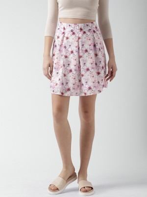 Mast & Harbour Printed Women's A-line Purple, Pink Skirt