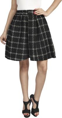 Naitik Checkered Women's Regular Black Skirt