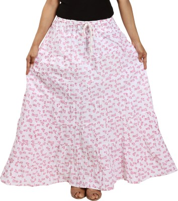 Archiecs Creation Printed Women's A-line White, Pink Skirt
