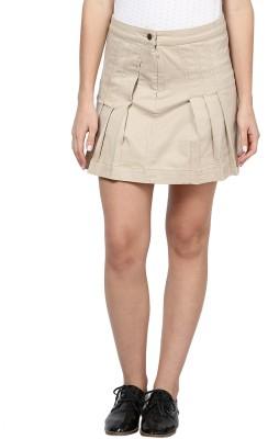 Species Solid Women's Pleated Beige Skirt