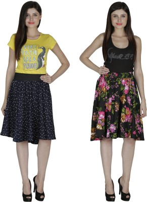 Shopingfever Printed Women's A-line Dark Blue, Black Skirt