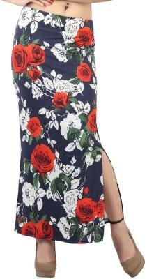 FamGlam Floral Print Women's Straight Blue Skirt