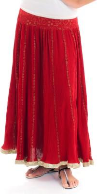 Naksh Jaipur Self Design Women,s Broomstick Red Skirt