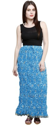 Pistaa Floral Print Women's Tiered Blue Skirt
