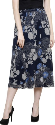 I Am For You Printed Women's A-line Blue Skirt