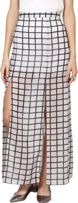 Abiti Bella Checkered Women's Straight White Skirt