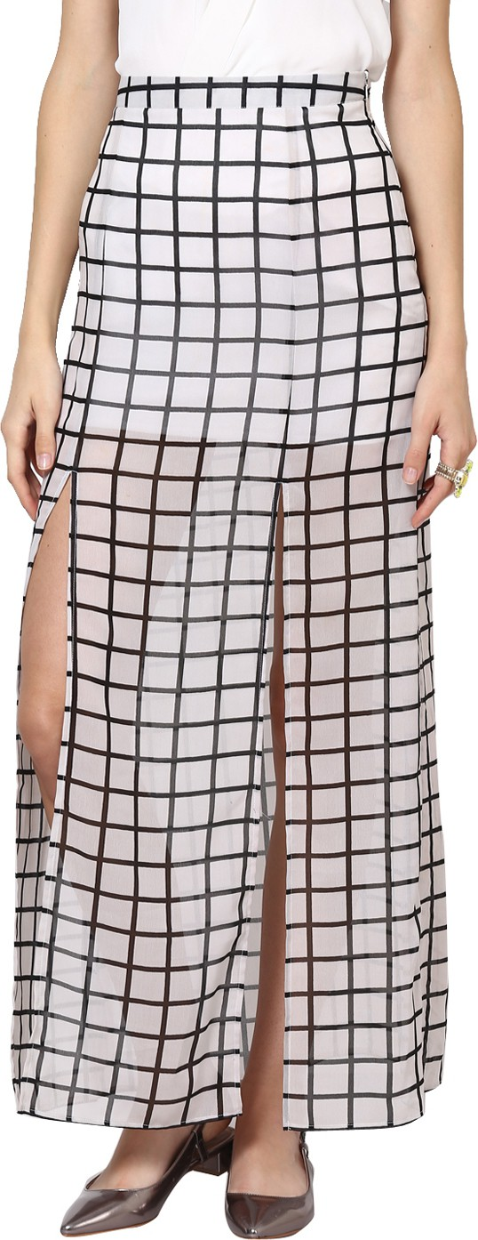 Abiti Bella Checkered Womens Straight White Skirt