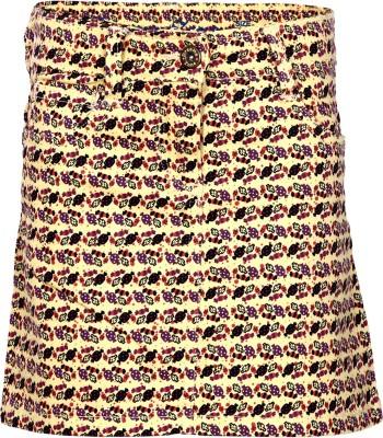 Dreamszone Printed Girl,s Regular Yellow Skirt
