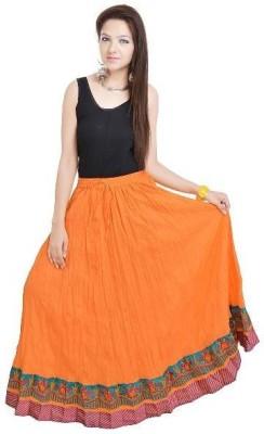 Navya Creations Printed Women's Straight Orange Skirt
