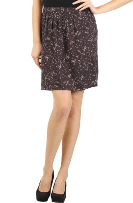 Ozel Printed Women's Regular Grey Skirt