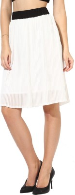 Martini Solid Women's Regular White Skirt