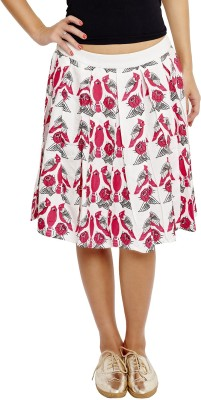 JALEBE Printed Women's Pleated White Skirt