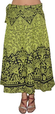 Pezzava Printed Women's Wrap Around Green, Black Skirt at flipkart