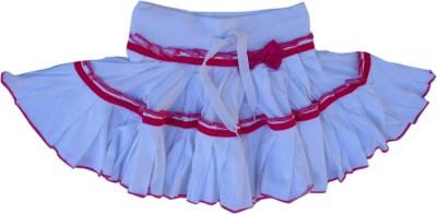 Garlynn Solid Girl's Layered White, Pink Skirt