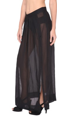 The Beach Company Solid Women,s Straight Black Skirt