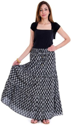Fabstyle Printed Women's Tiered Black Skirt