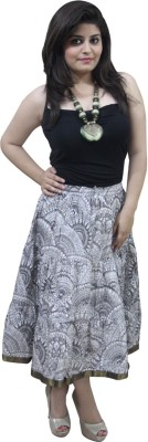 CrazeVilla Printed Women's A-line White Skirt
