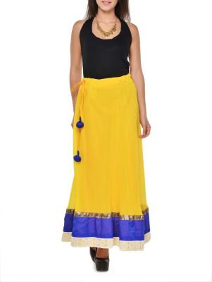Hoor Solid Women's A-line Yellow Skirt