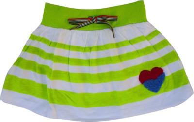 Garlynn Printed Girl's A-line White, Green Skirt