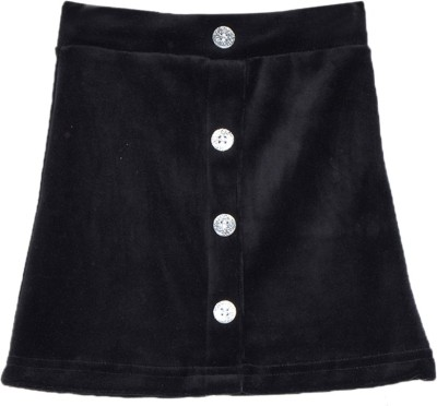 Lil Orchids Solid Baby Girl,s Straight Black Skirt