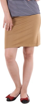 Hotberries Solid Women's Pencil Brown Skirt