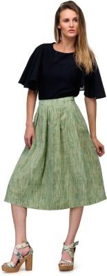 Yolo Designs Solid Women's Regular Light Green Skirt