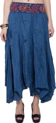 Tuntuk Solid Women's A-line Blue Skirt