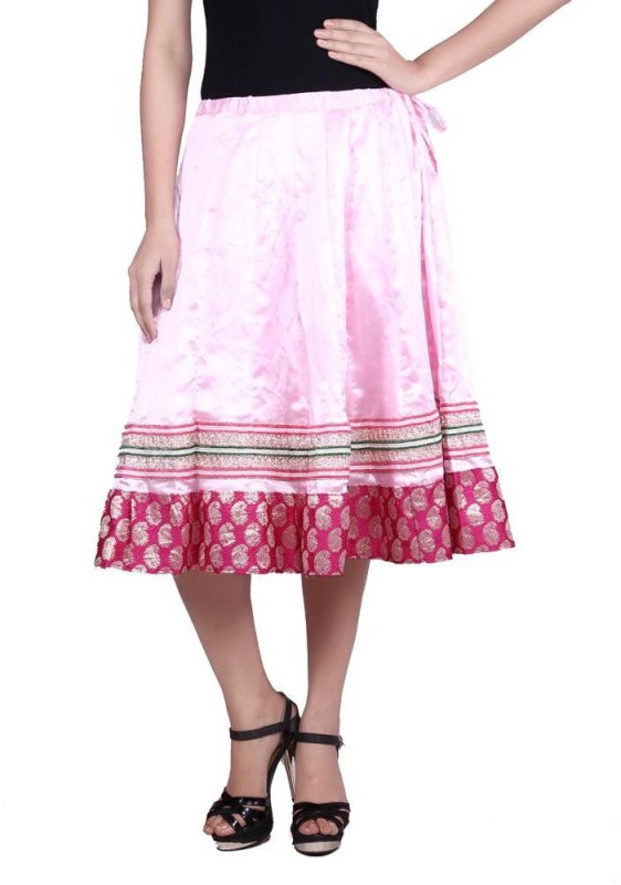 Prateek Exports Printed Women's A-line Pink Skirt