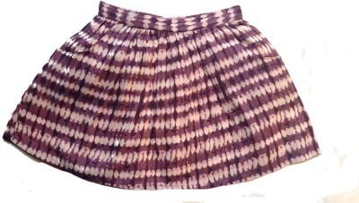 Textures Fashion Geometric Print Girl's Pleated Maroon Skirt
