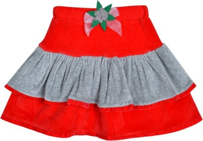 Lil Orchids Solid Girl's Tiered Red Skirt