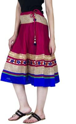 Ooltah Chashma Embellished Women's A-line Pink, Blue Skirt