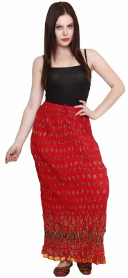 Pistaa Printed Women's A-line Red Skirt