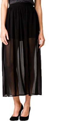 Revoure Solid Women's Straight Black Skirt