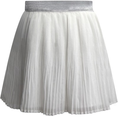 The Cranberry Club Solid Girl's Pleated White Skirt