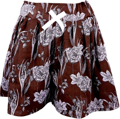 Toddla Floral Print Girl's Pleated Brown Skirt