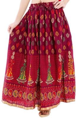 Ooltah Chashma Printed Women's Straight Red Skirt