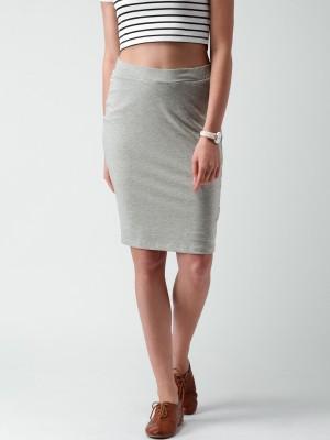 Mast & Harbour Solid Women's Pencil Grey Skirt