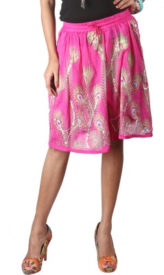 Indiankala4u Printed Women,s Broomstick Pink Skirt