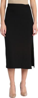 Miss Chase Solid Women's Straight Black Skirt