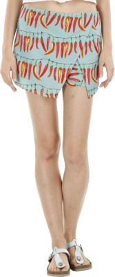 Fuziv Printed Women's Asymetric Green Skirt