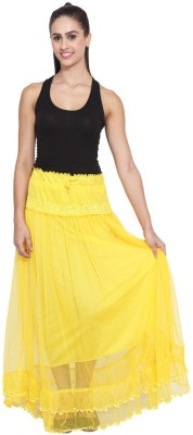 NumBrave Self Design Women's Layered Yellow Skirt