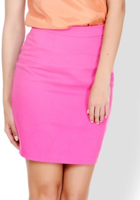 Pera Doce Solid Women's Pencil Pink Skirt